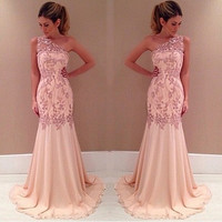women sleeveless  pink prom dress lace party ball one-shoulder srapless dress = 1956852100