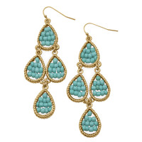 Gold Tone Pear Drop Fashion Earrings with Blue Beads