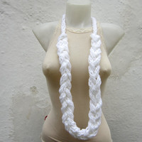 Necklace Crochet  -Finger Knitting Necklace-White-  Necklace Long Winter Accessories-chain loop scarf