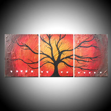 """gold tree Wall art triptych """"Wildwood""""  texture impasto 3 panal canvas art large painting Abstract art  huge wall 48 x 20"""" tree of life"""