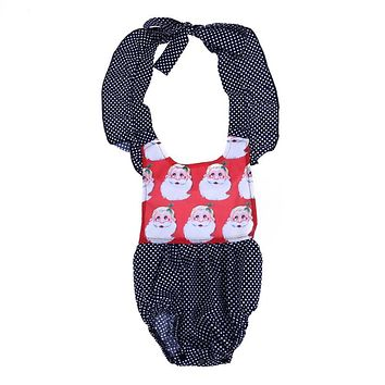 Newborn Baby Infant Girls Santa Claus Printed Bodysuit Cute Christmas Backless Jumpsuit Clothing for Girls