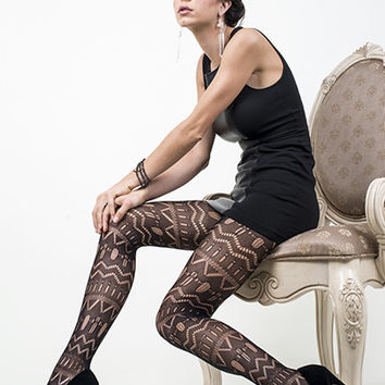 Tribal Print Fishnet Tights