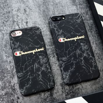 Black Champion Marble Case for iPhone