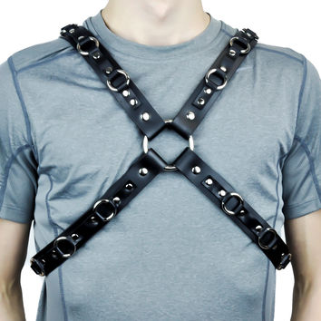 Black Leather O Ring Strap Fashion Harness