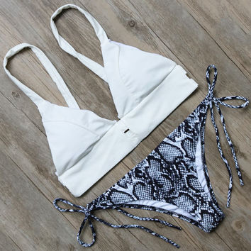 White Serpentine Pattern Bandage Bottom Bikini Set