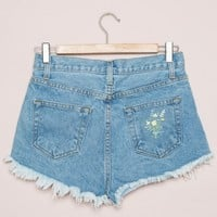Adrian Bouquet Embroidery Denim Shorts - Shorts - Bottoms - Clothing