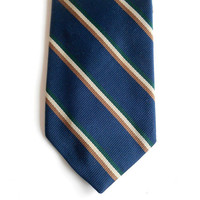 "Dark Blue Narrow Tie - Diagonal Stripes - 3"" - Striped Ties - Mens Neckties Ties - Mens Ties - Suit Ties - Business Ties - Executive Ties"