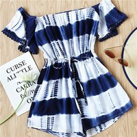 Off the Shoulder Summer Women One Piece Playsuits White and Navy Short Sleeve Bardot Tie-dye Drawstring Waist Playsuit
