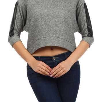 Textured Banded 3/4 Dolman Sleeve knit Sweater Leather Trim Cropped Top