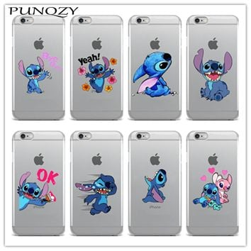 Phone Case For iPhone X iPhone 8 8Plus SE 5s 7 7Plus 6 6s Plus  Back Cover Fundas Coque Cute Stitch Emoji Soft TPU Clear Silicon
