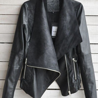 Vintage Women Slim PU Leather Jacket Long Sleeve Biker Motorcycle Coat Black