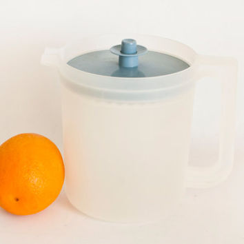 Vintage Small Sheer Tupperware Juice Pitcher, Push Button Blue Lid 1980s Tupper Ware Pour Spout Drink Pitcher