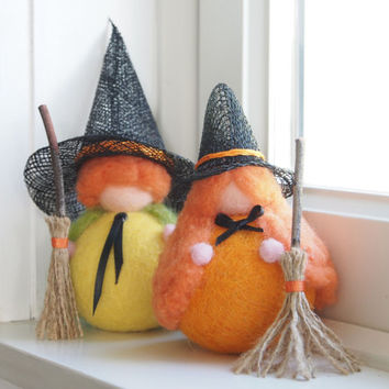 Felt Halloween Witches, Needle Felted Doll Toys Waldorf Gnomes, Orange Pumpkin Fairies