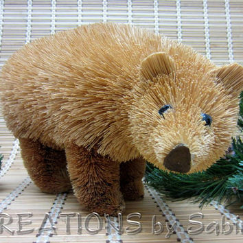 Vintage Bristle Bear / Natural Fiber Brush Art / Christmas Brown Rustic Decoration Home Decor / Nature Animal Wildlife / FREE SHIPPING (201)