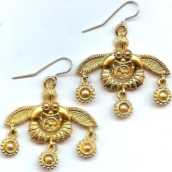 Greek Minoan Bees from Crete Wire Pierced Dangle Earrings 1.25L