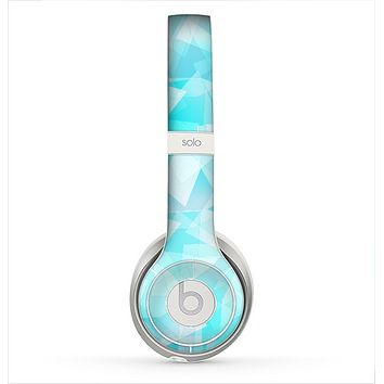 The Vector Abstract Shaped Blue Overlay Skin for the Beats by Dre Solo 2 Headphones