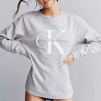 Gray  CK Printed Loose Long Sleeve Pullovers