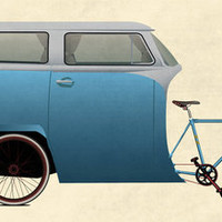 Camper Bike Art Print by Wyatt Design