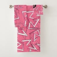 White and Black Zigzags on Pink Bath Towel Set