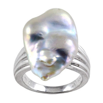 Imperial Pearl:  14-15mm Baroque Keshi Pearl Ring in Sterling Silver - Size 7