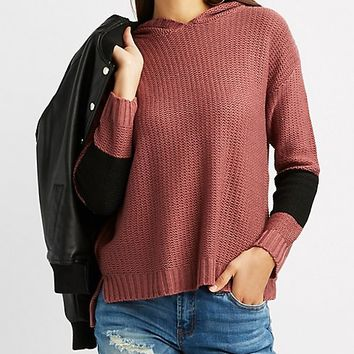 Hooded Striped Shaker Stitch Sweater | Charlotte Russe
