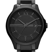 Armani Exchange Mens Black Stainless Steel Quartz Watch