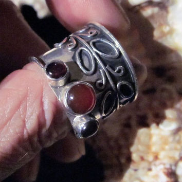 925 wide heavy banded Game of Thrones style garnet ring - silver carnelian stamped silver gift man woman gemstone rings wedding sterling
