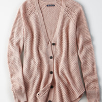 AE Waffle-Knit Shirttail Cardigan, Light Pink
