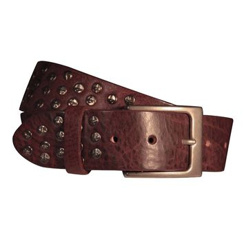 Coperto Curved Handmade Leather Belt - Sangria with Antique Silver