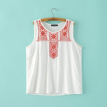Bralette Summer Hot Comfortable Sexy Beach Stylish Embroidery Cotton Sleeveless Vest [6047896897]