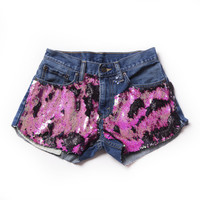 Pink Sequined Jean Shorts