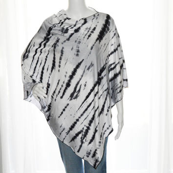 Black and White Tie Dye Poncho / Nursing Cover/ Lightweight Shawl/ One shoulder tunic top / Versatile Boho Top / Gift for her