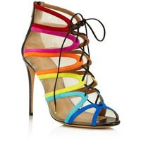 Salvatore Ferragamo Edgardo Osorio Collection Amber Rainbow Stripe Mesh Lace Up Booties