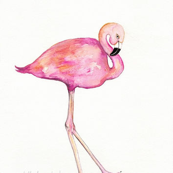 Flamingo / Pink Bird / Shabby Chic / Minimal / Archival Watercolor Print