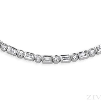 Ziva Baguette & Round Diamond Necklace