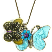 Blue Butterflies Necklace Crystal Flower Charm NI08 Vintage Animal Butterfly Pendant Fashion Jewelry