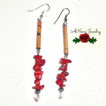 "Tribal Earrings: Handmade Wood Tubes, Red Coral and Swarovski Crystals ""Love"""
