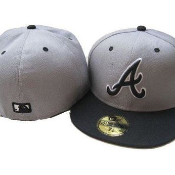 Atlanta Braves New Era Mlb Authentic Collection 59fifty Hat Grey Black