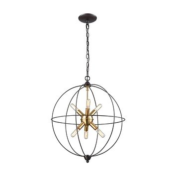 14511/6 Loftin 6 Light Chandelier In Oil Rubbed Bronze With Satin Brass Accents
