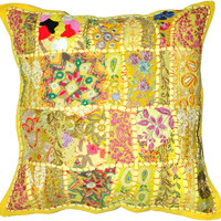 "20x20"" Yellow Pillow Vintage Indian Patchwork Pillow Cushion Cover Throw Pillow Toss Pillow Pillow Sofa Pillow Large Decorative Pillow Cover"