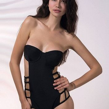 Posh Girl Black Bela Halter Swimsuit