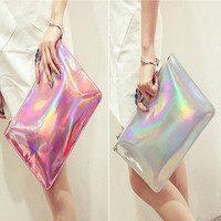 Holographic Laser Metallic Shine Handbag Messenger Bag Envelope Clutch Evening H
