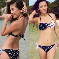 Cute Star Top and Bottom PADDED TWISTED Bikini with Steel Care Swimsuit Swimwear