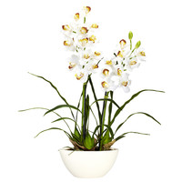 Cymbidium w/White Vase Silk Flower Arrangement