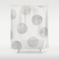 Silver Polka Dots Shower Curtain by Georgiana Paraschiv