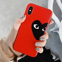 """Comme des garçon play"" Heart Pattern Silicone Mobile Phone Cover Case For iphone 6 6s 6plus 6s-plus 7 7plus 8 8plus X XS Max XR Red"