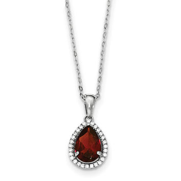 Sterling Silver Rhodium Polished Garnet & CZ Necklace QG4069JAN