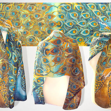 Peacock scarf - peacock feathes scarves - hand painted scarf - ready to go - turquoise scarf and golden scarf - Art Nouveau silk scarf