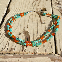 Blue Turquoise and Amber Bead Necklace // Vintage Desert Rose Trading Jay King Jewelry, Turquoise Necklace, Amber Necklace