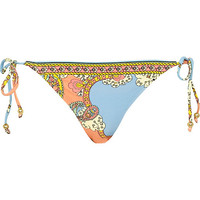 River Island Womens Blue placement scarf print bikini briefs